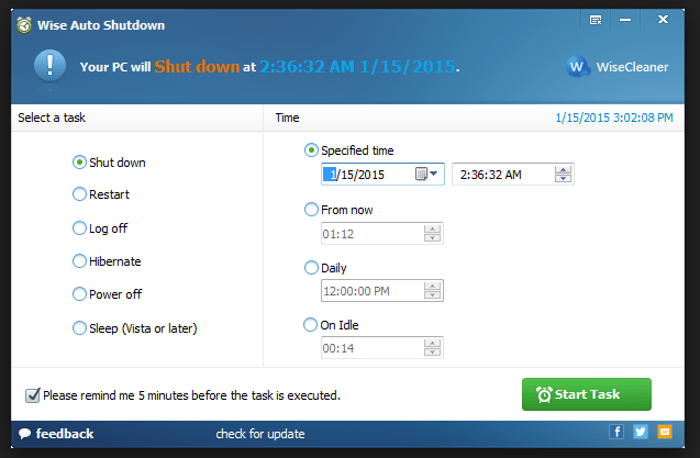 Download Wise Auto Shutdown 1.65 Free 2018 Latest Version